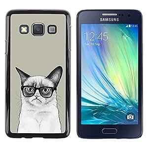 Paccase / Dura PC Caso Funda Carcasa de Protección para - Siamese Cat Drawing Angry Glasses Art Hipster - Samsung Galaxy A3 SM-A300