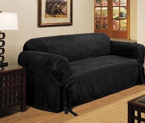 Cheap Microsuede Slipcover Black Loveseat Sofa Offer