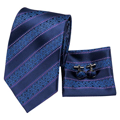 - Hi-Tie New Arrival Mens Nvay Blue Striped Paisley Tie Necktie Pocket Square and Cufflinks Tie Set Gift Box