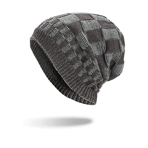 (Farjing Hat Clearance Sale Lattice Cotton Hats Unisex Warm Winter Knit Cap(Grey)