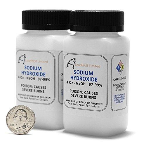 Гидроксид натрия - Лай -Caustic Сода NaOH 99,9% Pure Food Grade 8 унций 1/2 фунта в пластиковой бутылке