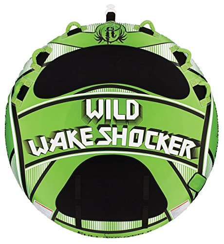 Absolute Outdoor Full Throttle Wild Wake Shocker Fully Covered Towable Tube, Green, 80-Inch (Towable Covered)