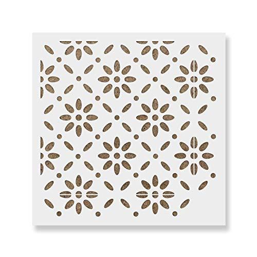 Bjorn Tile Stencil - Reusable Floor & Backsplash Scandinavian Tile Stencils for Home Decor, Furniture, and Walls 12