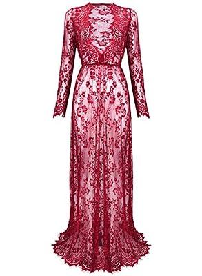 Globalsellinc Yomoko Sexy Deep V-Neck Long Sleeve Lace Beach Dress See-through Maxi Dress