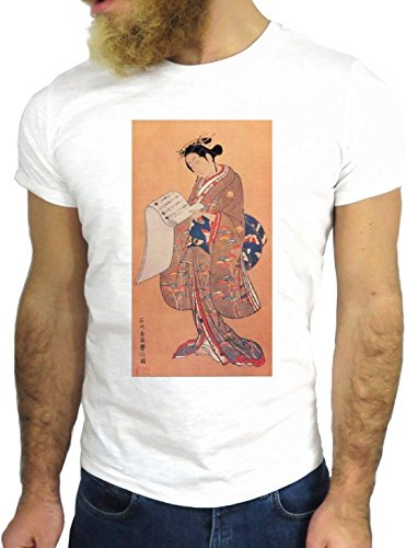 T SHIRT JODE Z1847 JAPANESE LADY ELEGANCE ASIA MANGA FUN COOL FASHION NICE GGG24 BIANCA - WHITE S