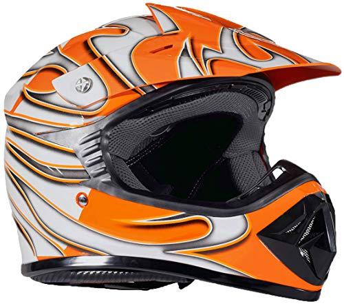 (Youth Dirt Bike Helmet Off Road ATV Motorcycle MX Kids Motocross Orange - Large)