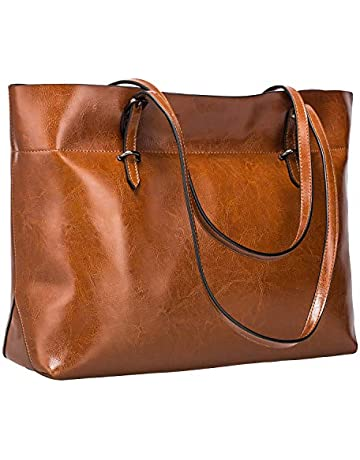 2eb4564a2ca6 S-ZONE Women s Vintage Genuine Leather Tote Shoulder Bag Handbag Upgraded  Version (Coffee)