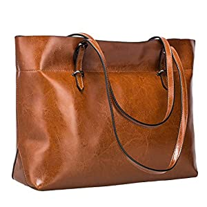 S-ZONE Women Vintage Genuine Leather Tote Shoulder Bag Handbag Upgraded Version Medium