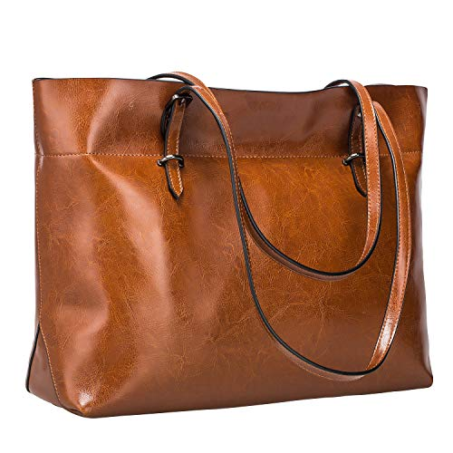 S-ZONE Women's Vintage Genuine Leather Tote Shoulder Bag Handbag Upgraded Version (Dark Brown) (Leather Shoulder Tote Bag)