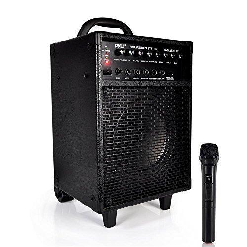 "Wireless Portable PA Speaker System - 600W Bluetooth Compatible Rechargeable Battery Powered Outdoor Stereo Speaker Microphone Set w/ 30-Pin iPod Dock, Wheels - 1/4"" to AUX RCA Cable - Pyle PWMA930IBT"