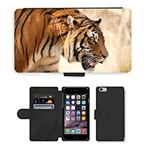 """PU Cuir Flip Etui Portefeuille Coque Case Cover véritable Leather Housse Couvrir Couverture Fermeture Magnetique Silicone Support Carte Slots Protection Shell // V00002657 Tigre // Apple iPhone 6 4.7"""""""