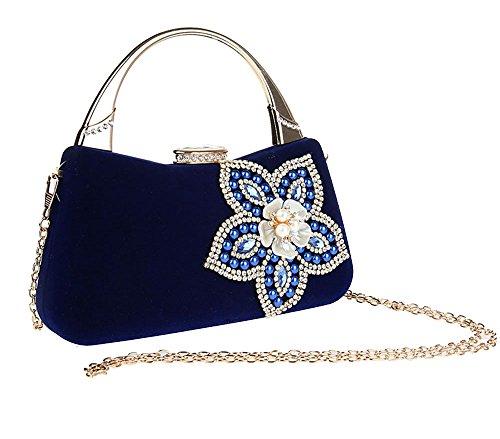 Pulama Women's Rhinestone Hand Clutch Floral Pearl Velvet Evening Purse Cocktail Party Handbag(Royal Blue) (Royal Blue Velvet Bag)