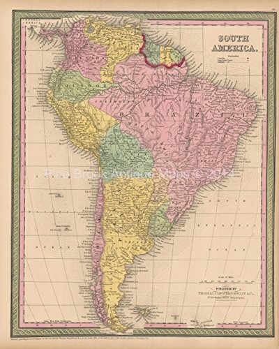South American Continent Antique Map Authentic South American Decor History Gift Cowperthwait 1853 ()