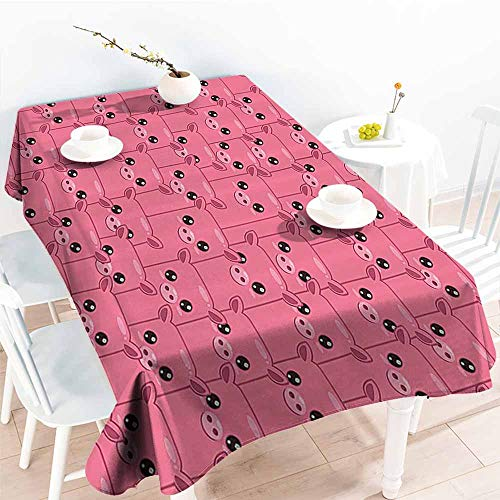 Homrkey Polyester Tablecloth Pig Decor Collection Smiley Square Faced Little Pigs Eyes Noses Crowd Herd of Animals Pattern Pink Bubblegum Easy to Clean W70 xL84