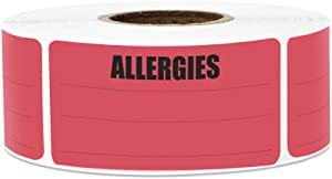 300 Labels - Allergies Stickers Labels with Write-On Surface for Food Allergy Warning (2.15 x 1 Inch, Red - 1 Roll)