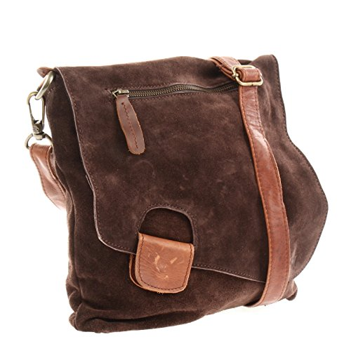 Brown 29x29x6cm Handbag Look Dark Braun Velours Leather Le3027 Vintage Used body Shoulder Suede Women Bag Leconi Cross HA7qa7