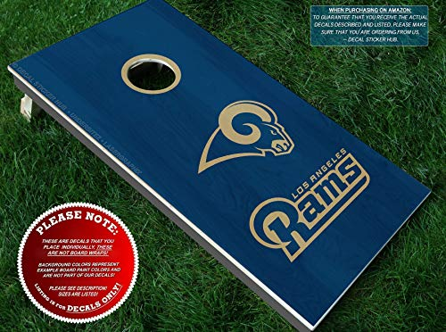 Rams Cornhole Decals | HALF SET | Color Choice | Large Decals + Ring Sticker | DIY Cornhole Board Building & Decorating | Decal Sticker Hub
