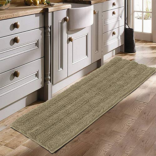 Chenille Bathroom Rug, 20″ x 60″, Extra Large Soft Bath Mat, Non Slip Super Water Absorbent Runner Rug, Thick Microfiber Plush Machine Washable Shaggy Rugs for Tub, Shower, Bath Room, Taupe
