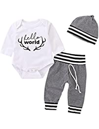 702f2a64fb93 Newborn Boy Girls Clothes Baby Romper Jumpsuit Hat Outfit Pants Set Long  Sleeve Bodysuit Winter Clothing