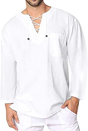 Hombre Camisa Vintage Invierno otoño,Sonnena Camiseta Retro Medieval Estilo Manga Larga Guapo Hombre Blusa Marinera Vieja Suelto Casual Moda ...