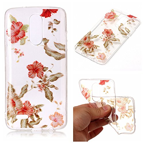 8 2017 Case, Clear Hybrid Fancy Colorful Pattern Hard Soft Silicone Back Case Cover Fit for LG LV3 / LG Aristo / LG K8 2017 (Rhododendron) ()