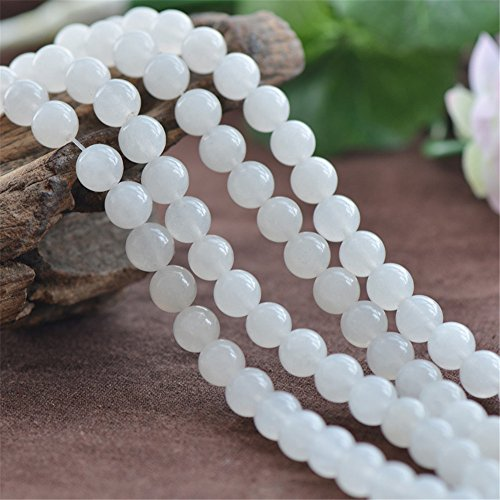Grade A Natural White Jade Beads 6mm 8mm 10mm 12mm Smooth Polished Round 15 Inch Strand JA51 -