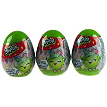 Set Of 3 Green Shopkins Surprise Gift Egg - Toy Sticker Sweet