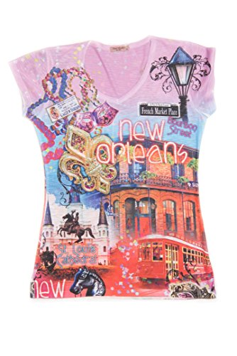 Sweet Gisele Colorful New Orleans Souvenir V-Neck T-Shirt with Bling for Women Pink