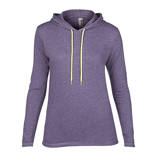 Anvil Womens Fashion Basic Long Sleeve Hooded T Shirt Heather Purple/ Neon Yellow