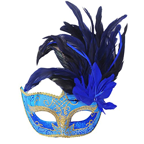 Mardi Gras Venetian Masks (Masquerade Mask, Coxeer Venetian Mask Mardi Gras Mask Halloween Costume Feather Mask)