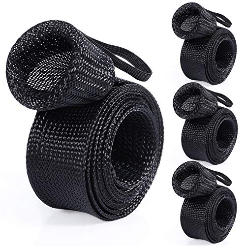 PLUSINNO Fishing Rod Cover, 4 Pack Rod Sleeve Socks, Braided Mesh Rod Protector, Fishing Pole Covers Sleeves with Lanyard for Fly Spinning Casting Rod,Flat End Fishing Gear Tools Accessories (Fly End)