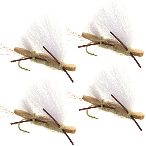 Chubby Chernobyl Ant Tan Foam Body Trout Fly Fishing Flies - 4 Flies - Hook Size 10 - Trout Bass Flies