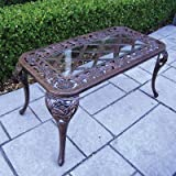 Oakland Living Tea Rose Cast Aluminum Cocktail Table, Antique Bronze