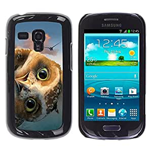 - Owls Owl Cute Pattern - - Monedero pared Design Premium cuero del tir¨®n magn¨¦tico delgado del caso de la cubierta pata de ca FOR Samsung Galaxy S3 Mini I8190 Funny House
