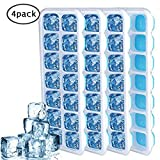 Easy Release Ice Cube Tray with Lids, Moveland BPA-Free Stackable Silicone Ice Cube Molds