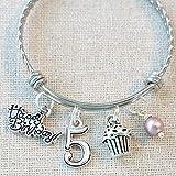 5th BIRTHDAY GIRL BRACELET, 5th Birthday Charm Bracelet, 5 Year Old Daughter Birthday
