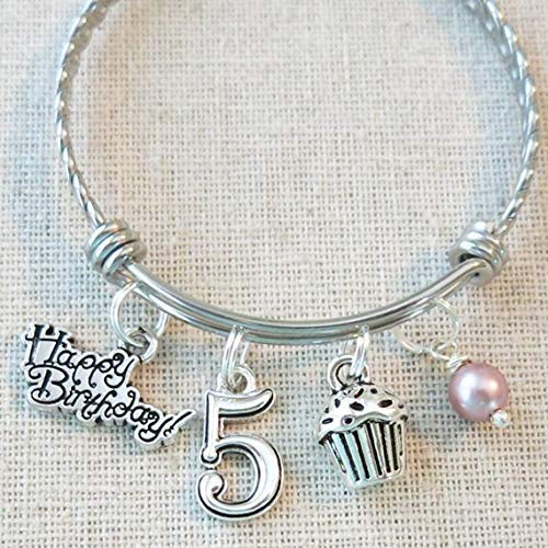 5th BIRTHDAY GIRL BRACELET Birthday Charm Bracelet 5 Year Old Daughter Gift