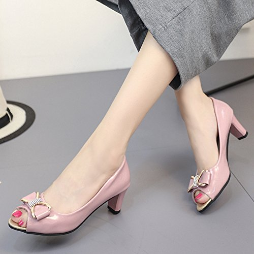 Línea la de Boca Zapatos de de Zapatos En Verano pintadas de Boca Casual Mujer Pajarita el ZHZNVX Talón la Solo Mujer Zapatos Superficial Alto Color de de el 39 Pescado Cuero Nuevo f0aHRwPx