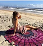 Vipsoul Beauty Large Premium Round Indian Mandala Tapestry Beach Towel Blanket Outdoor Roundie Ultra Soft Multi-Purpose Blanket Shawl Yoga Mat (Cotton 70', Purple)