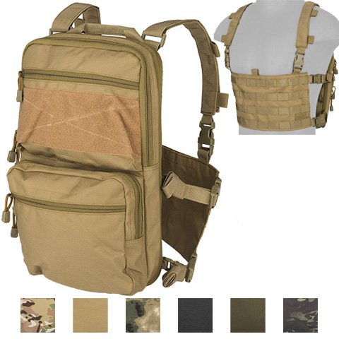 Lancer Tactical Modern Slim to 2-Day Trek Back Pack with Padded Back Mesh Weave Vent and Chest Rig Four Line MOLLE Panel Exterior Pockets Hydration Bladder 1000 Denier Double Stitched (TAN) (Double Weave Mesh)