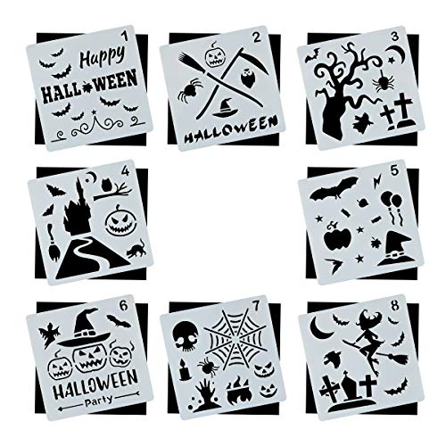 Halloween DIY Decorative Stencils Set of 8 Pack for Painting on Wood, Craft Cards Making, Human Body Painting, Home Decor
