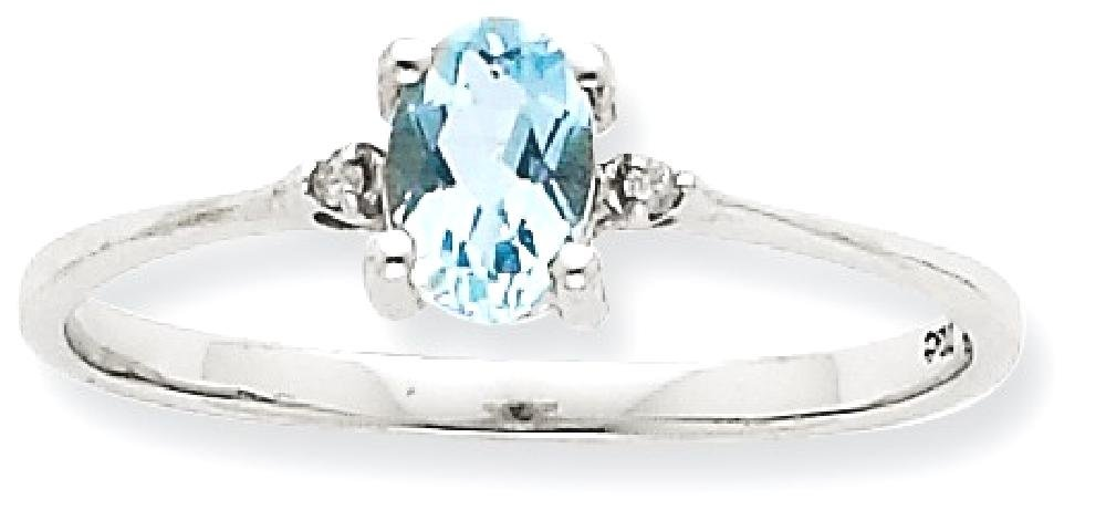 ICE CARATS 10k White Gold Diamond Blue Aquamarine Birthstone Band Ring Size 6.00 March Oval Style Fine Jewelry Gift Set For Women Heart