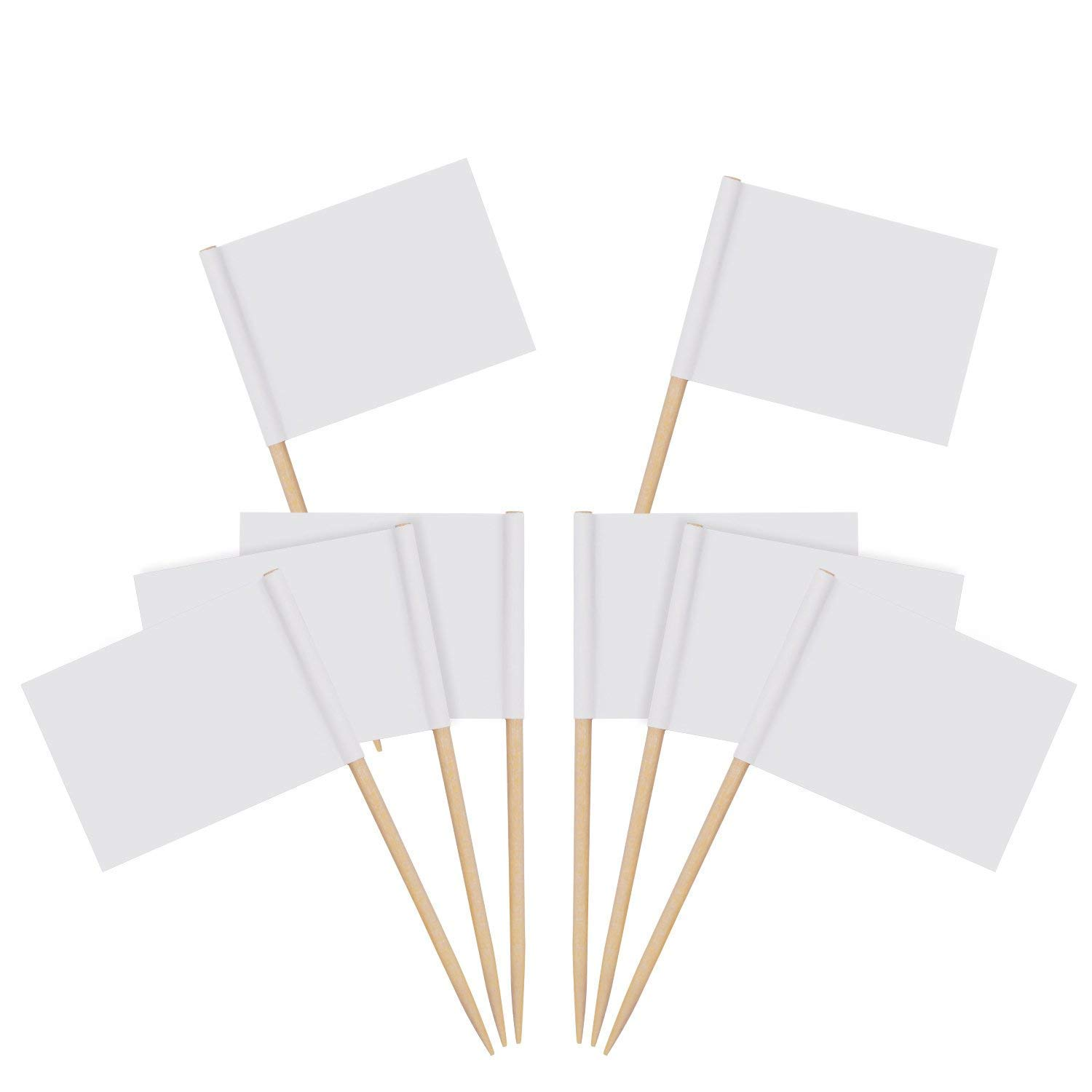 Zehhe Mini Blank White Flags Food Cheese Markers Labeling Picks for Cake Toothpicks Cupcake Decoration Fruit Cocktail Sticks Party Supplies (400)