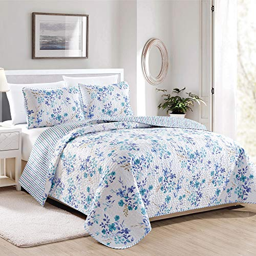 Great Bay Home April Morning Collection 3 Piece Quilt Set with Shams. Reversible Floral Bedspread Coverlet. Machine Washable. (King, ()