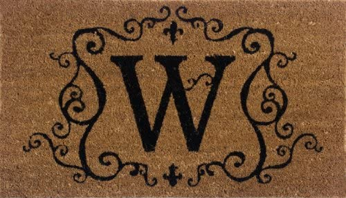 Evergreen 2RM023 Monogram Door Mat, Coir Insert, Letter W, 16-Inches x 28-Inches