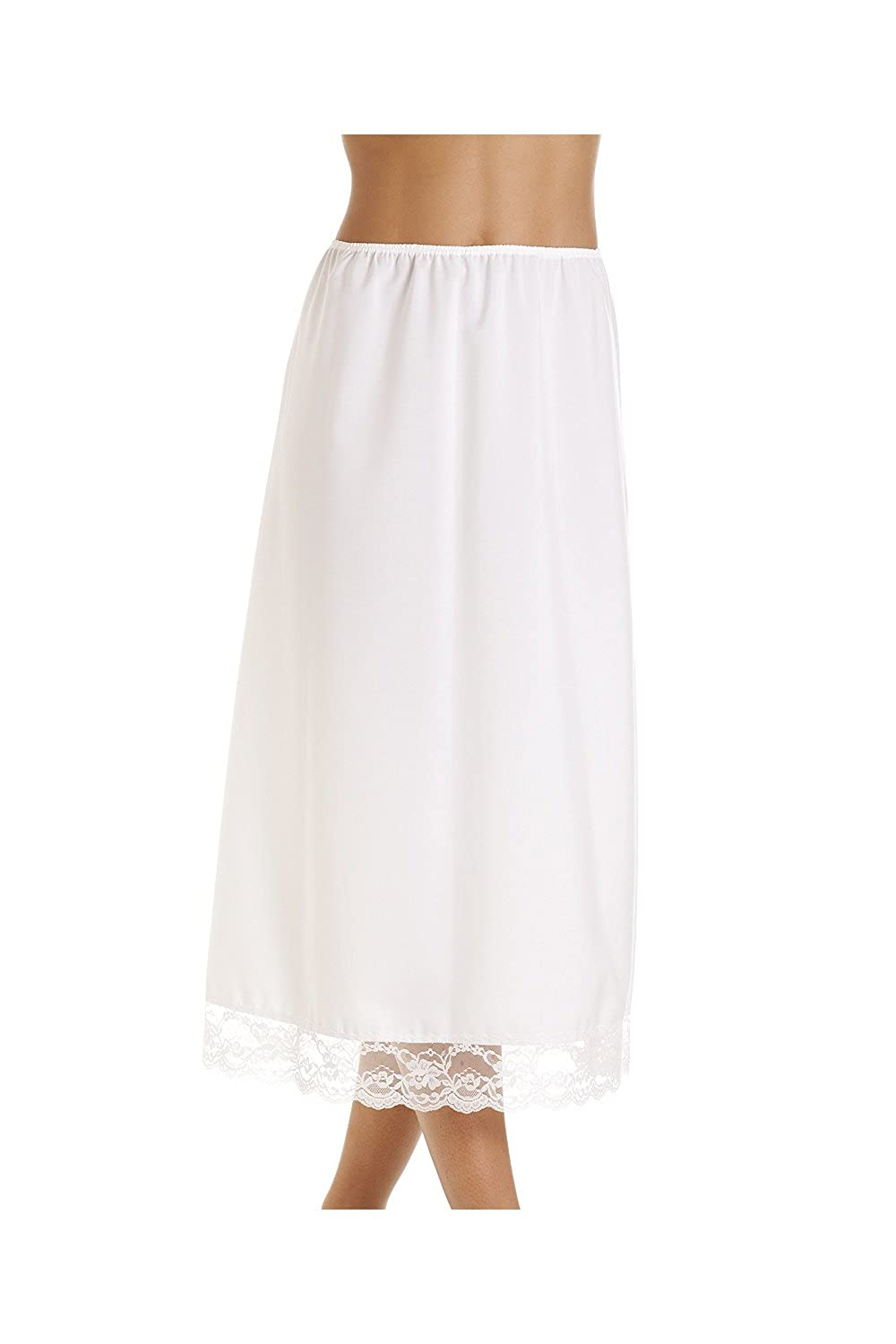 Camille Womens Ladies White 32'' Half Length Lace Trim Under Skirt Slip