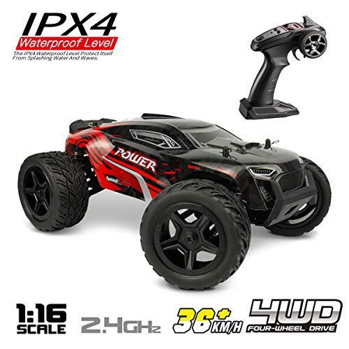 Hosim 1:16 Scale 4WD Remote Control RC Truck G172, High Speed Racing Vehicle 36km/h Radio Controlled Off-Road 2.4Ghz RC Electronic Monster Hobby Truck Buggy for Kids Adults Birthday (Red) (Best 1 5 Scale Rc 2019)