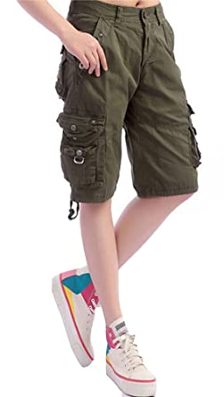 fd02342d23c717 Brinny Damen 3/4-Hose Designer Cargo Shorts Capri Bermuda Kurze Stoffhose  Jeanshose Reißverschluss