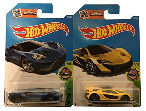 Hot Wheels 2016 '17 Ford GT #73 & McLaren P1 (Yellow) #71 2-Car Bundle Set