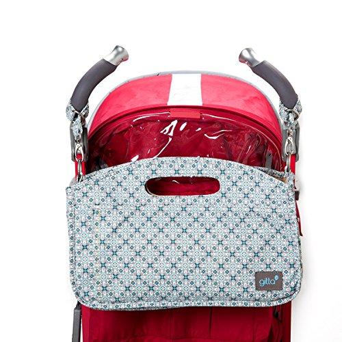 Gitta Stroll Baby Stroller Organizer Storage Holder Bag, Printed Turquoise